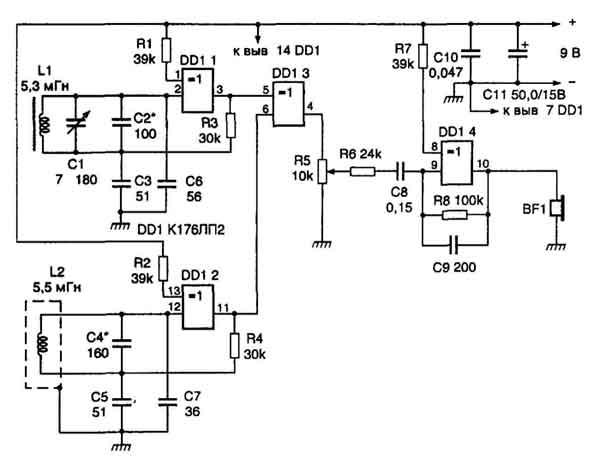 Металлоискатель,принципиальная схема которого изображена на рис.1, собран всего на одной микросхеме К176ЛП2.